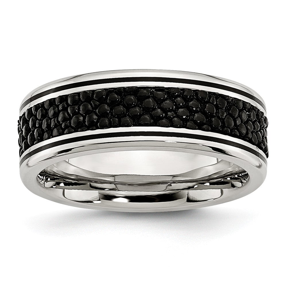 Men's Stainless Steel Polished Grooved/Black IP-plated Textured 8mm Ring