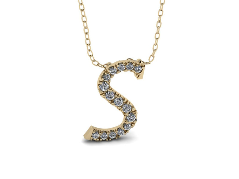 Letter Diamond Charm Necklace - Initial Diamond Charm Necklace