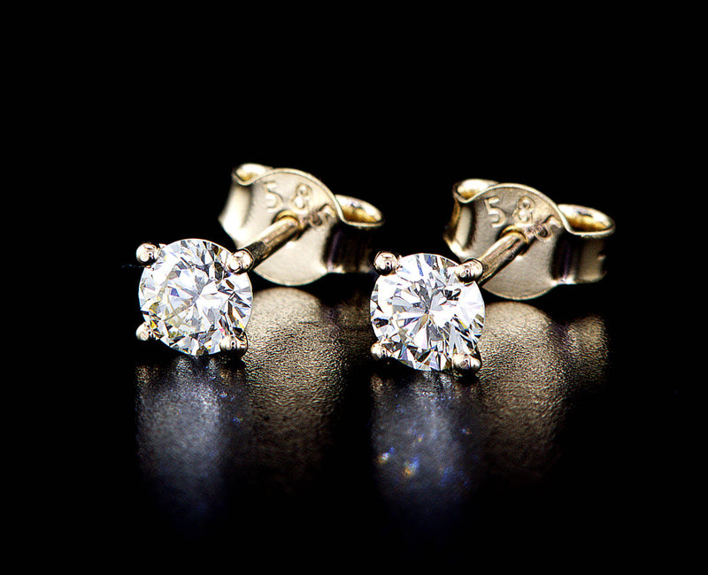 14K Stud Diamond Gold Earrings