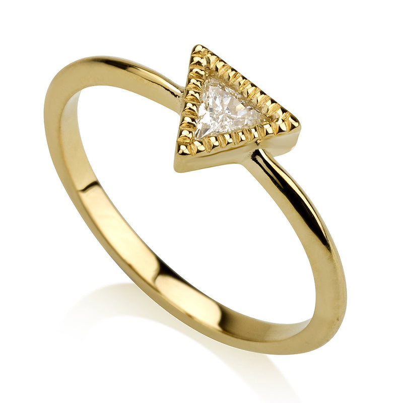 Dainty Triangle Diamond Solitaire Ring