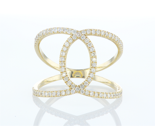 Diamond Wide Loop Openwork Statement Dainty Ring