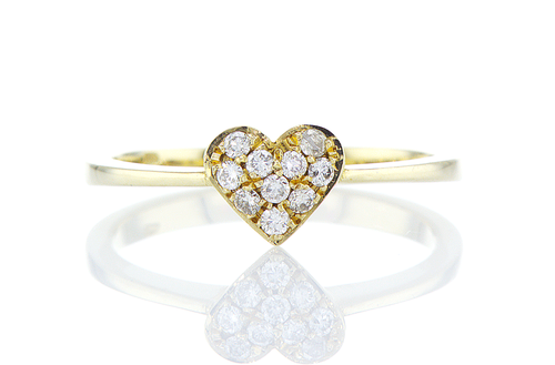 Small Pave Heart Ring - Diamond Heart Stack Ring