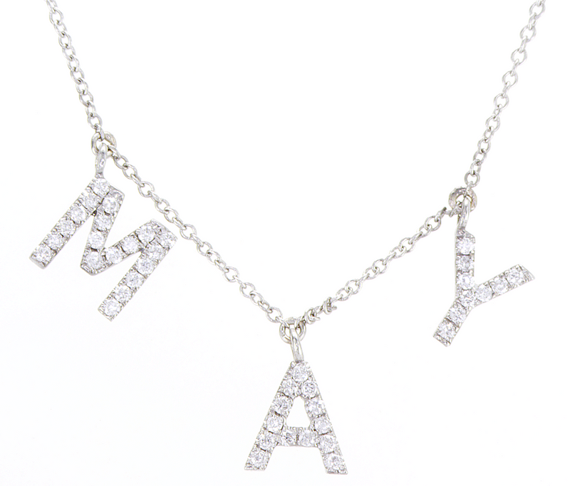 Letter Diamond Charm - Letter Diamond Necklace