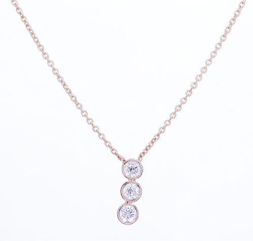 Single Row Trio Diamond Necklace Pendant