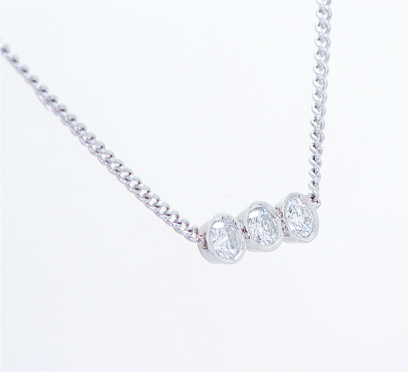 Three Stone Bezel Pendant Necklace