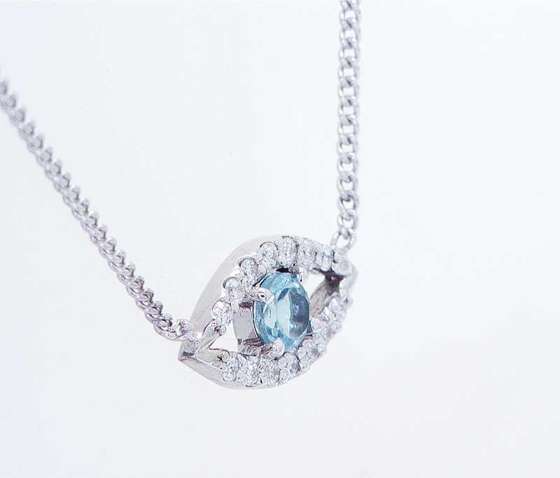 Blue Topaz Evil Eye Diamond Necklace Pendant