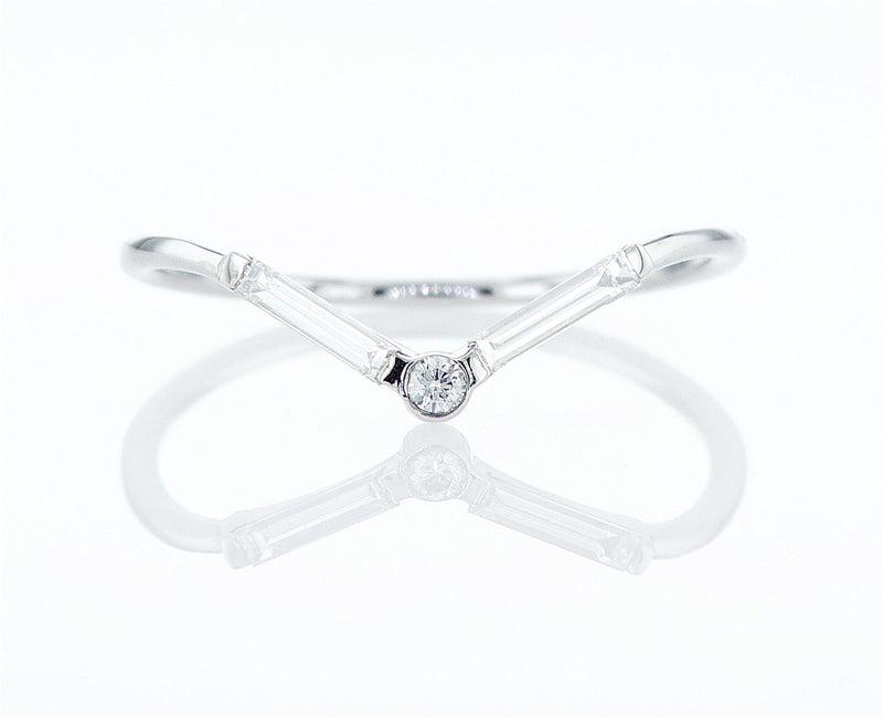 Chevron Baguette Diamond Ring - V Baguette Ring