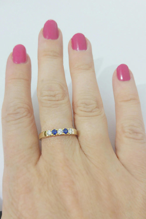 Diamond and Blue Sapphire Band - Anniversary Ring