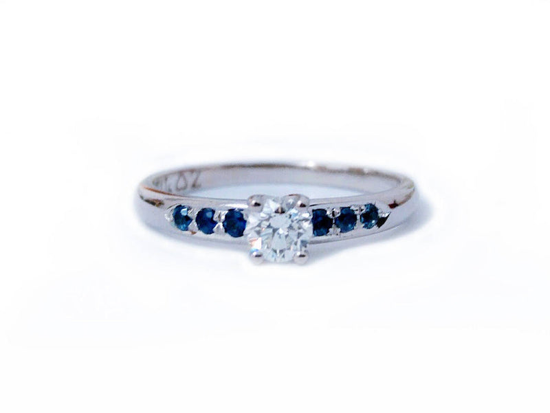 Delicate Diamond and Sapphire Engagement Ring