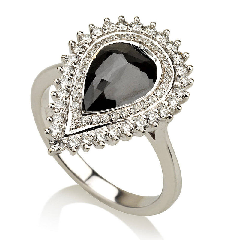 Pear Shape Black Diamond Halo Ring