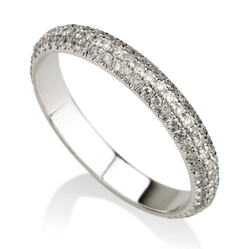 Three Row Diamond Wedding Band - Diamond Wedding Ring