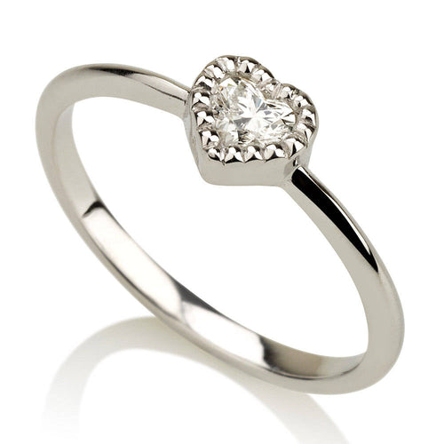 Diamond Heart Ring - Petite Diamond Ring