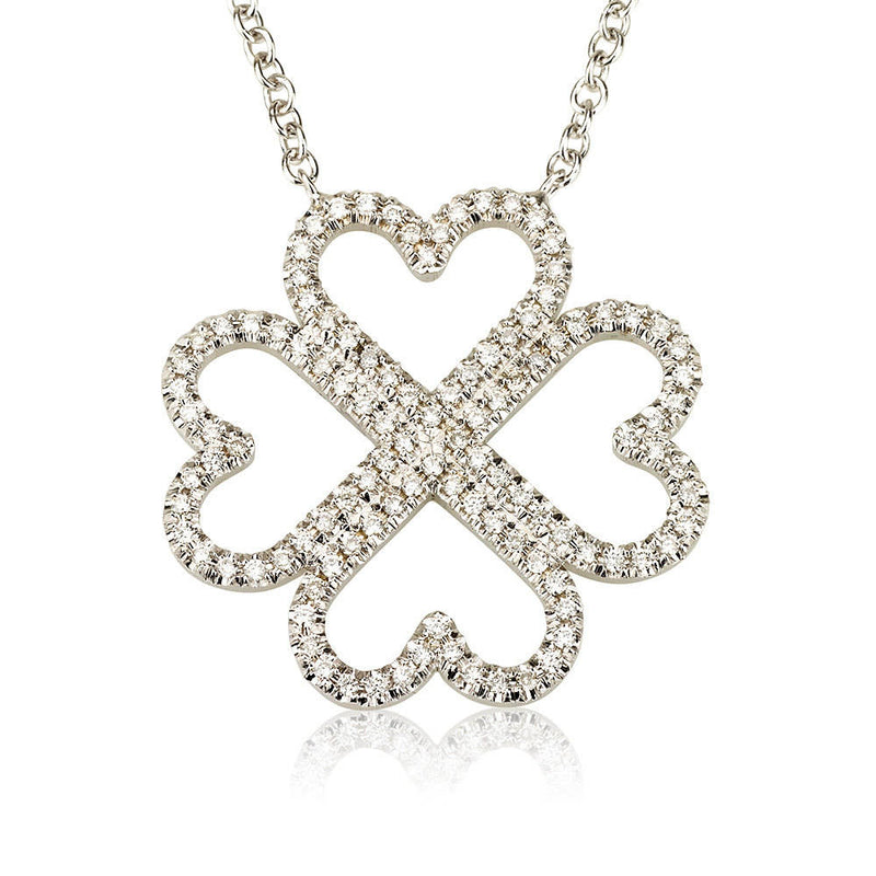 Diamond Heart-Shaped Four Leaf Clover Necklace Pendant