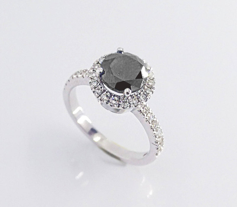 Black Round Brilliant Cut Halo Diamond Ring