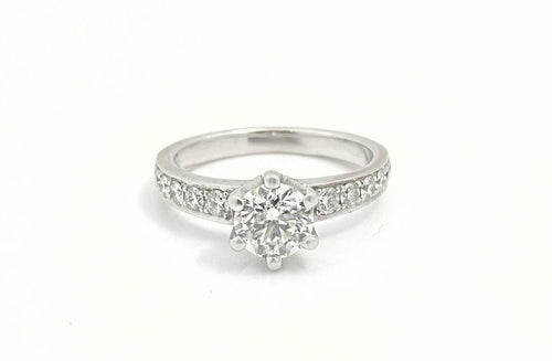 14K White Gold 0.88CT Diamond Engagement Ring