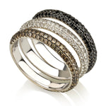 Champagne Diamond Three Row Half Eternity Ring
