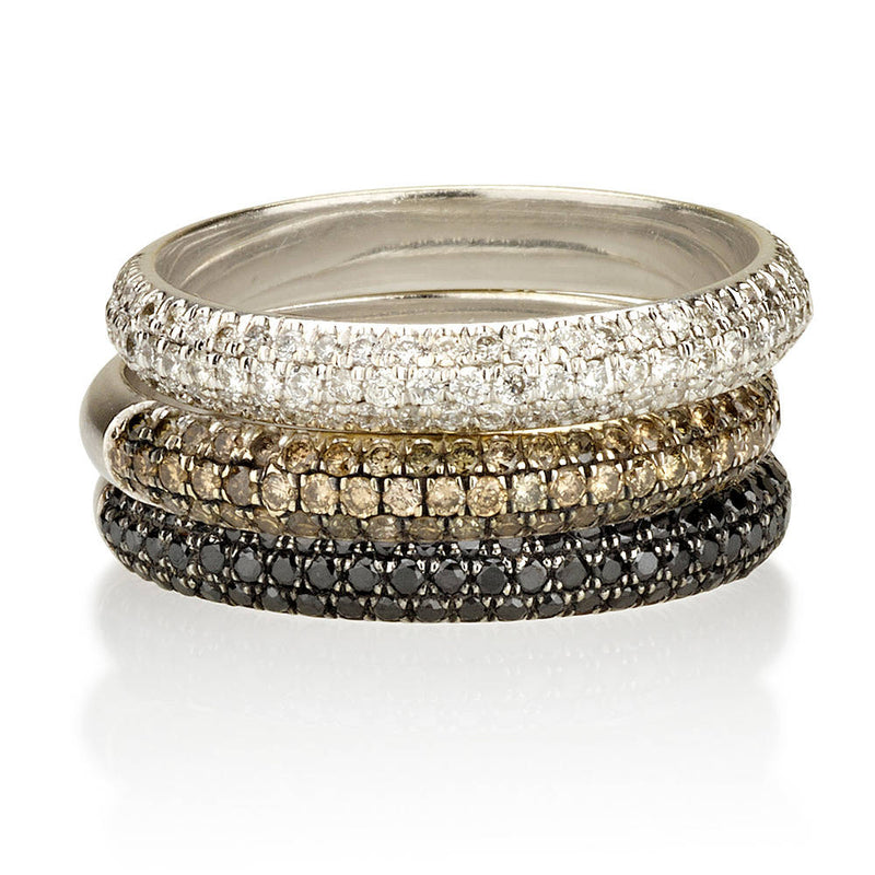 Champagne Diamond Three Row Half Eternity Band