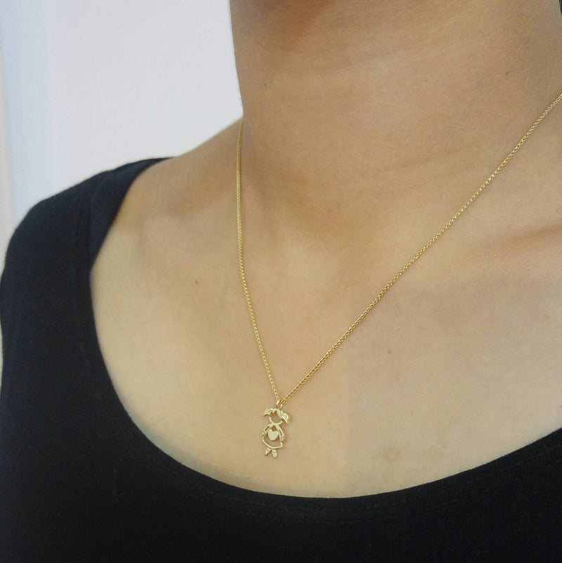 Girl Pendant Yellow Gold Charm