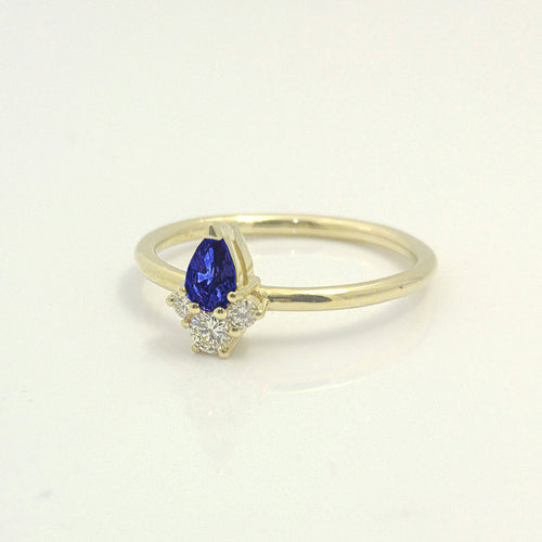 Sapphire Pear Shaped Engagement Diamond Ring
