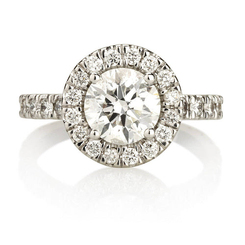 1.70 Carats Diamond Halo Engagement Ring