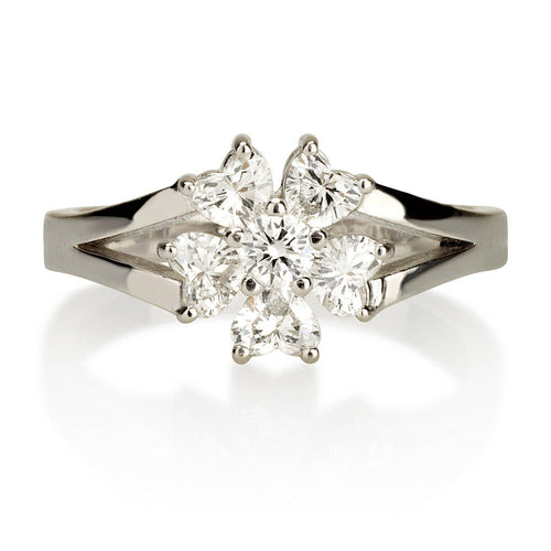 Hearts Flower Diamond Ring