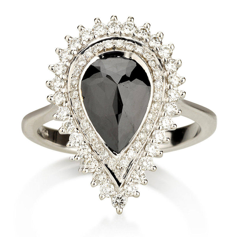 Pear Shape Black Diamond Halo Engagement Ring