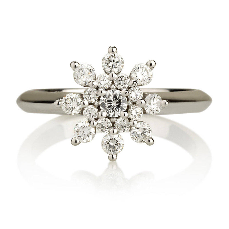 Diamond Flower Ring - Diamond Snowflake Engagement Ring