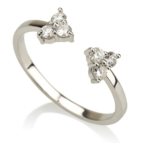 Open Diamond Trio Minimalist Ring Band