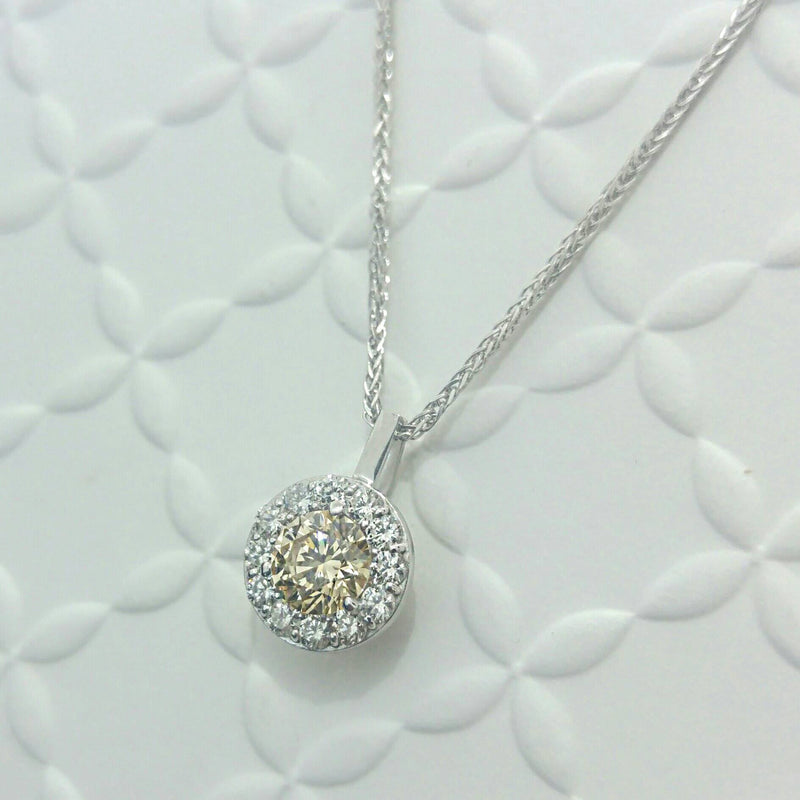 Champagne Diamond Cluster Necklace Pendant
