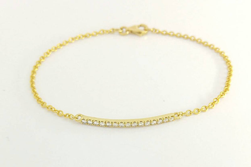 Yellow Gold Diamond Bar Bracelet