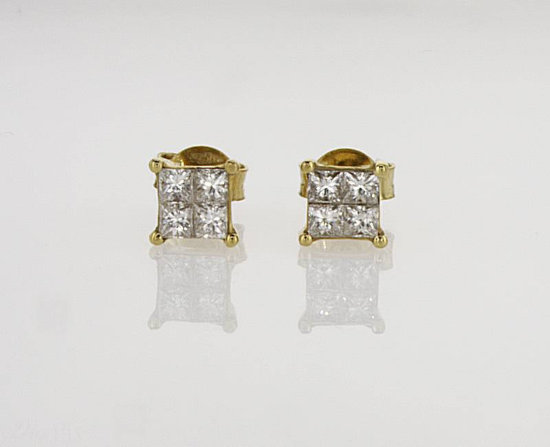 Princess Unisex Diamond Earrings