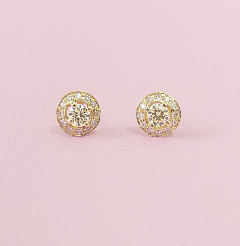 Diamond Halo Earrings - Diamond Cluster Earrings