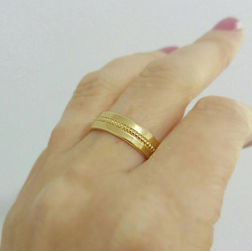 Unique Wide Gold Wedding Band