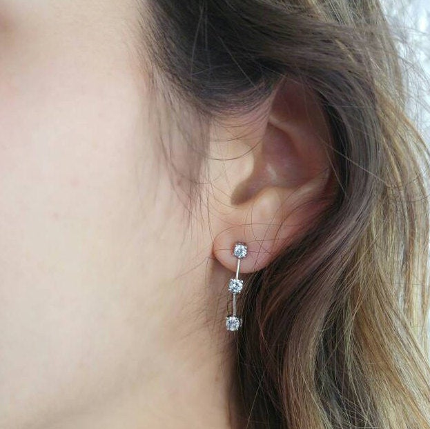 Round Diamonds Bar Dangle Earrings -Trio Diamonds Earrings