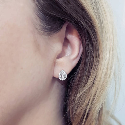 Pear Shape Halo Diamond Earrings