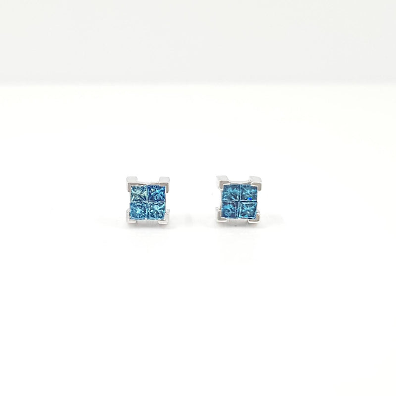 Princess-Cut Blue Diamond Stud Earrings