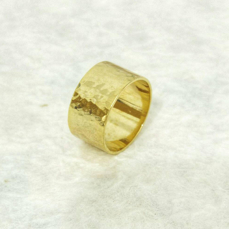 Wide Hammered Gold Ring