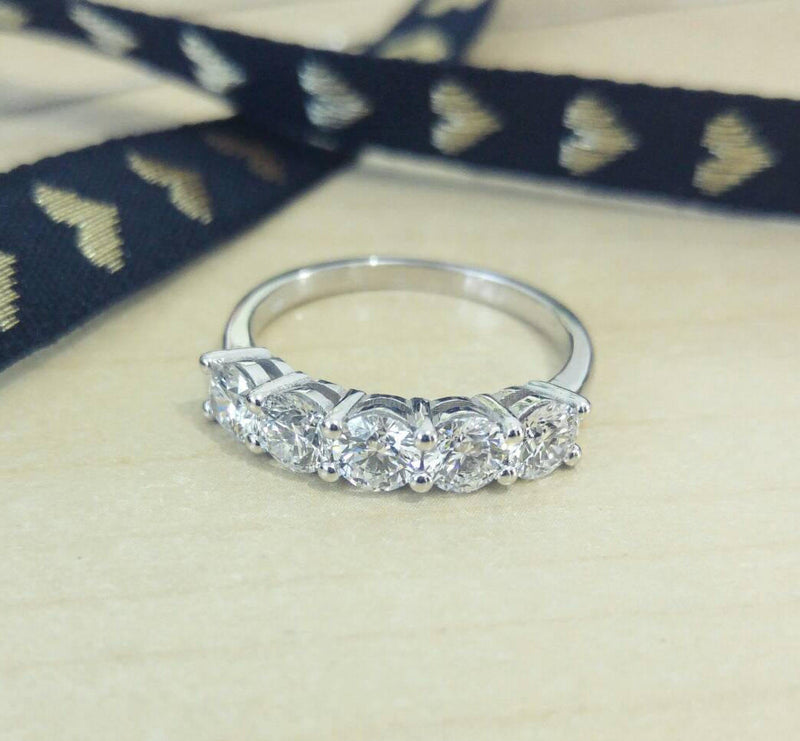 Five Stone Diamond Wedding Ring Band