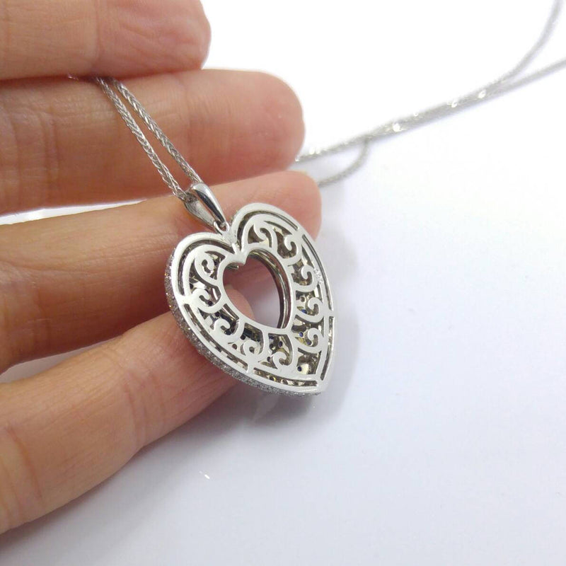Blue Sapphire Heart Diamond Necklace