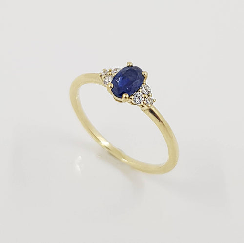 Sapphire Oval Cut Engagement Diamond Ring