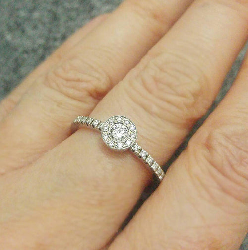 Dainty Diamond Halo Engagement Ring