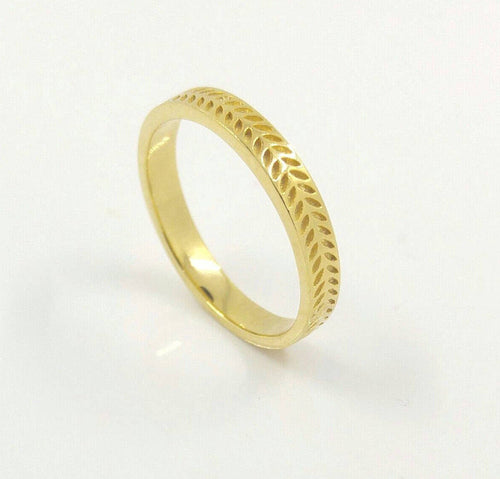Leaf Braided Pattern Band Ring