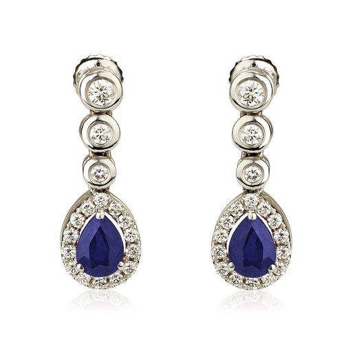 Sapphire Dangle Diamond Earrings