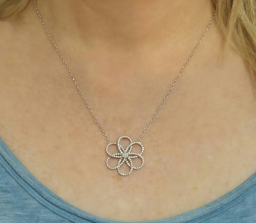 Flower Diamond Pave Necklace Pendant