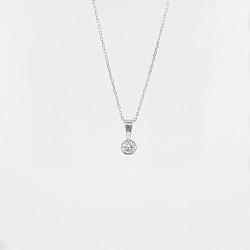 Delicate Solitaire Diamond Pendant Necklace