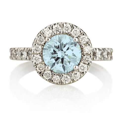Aquamarine Gold Fashion Halo Ring