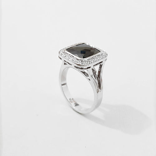 Rose Cut Black Diamond Halo Engagement Ring