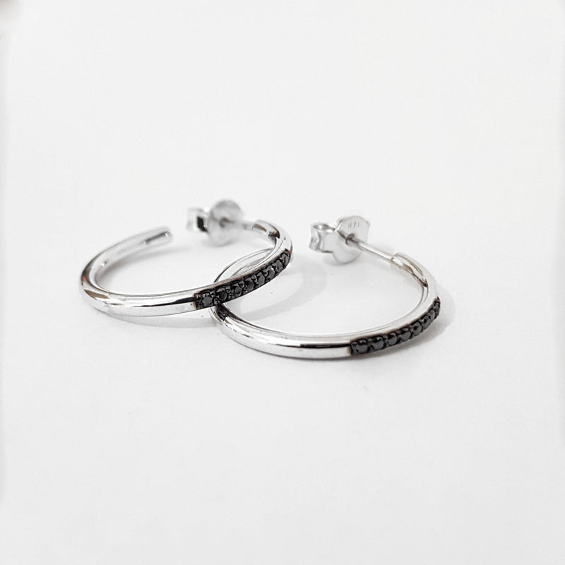 Black Diamond Gold Hoop Earrings