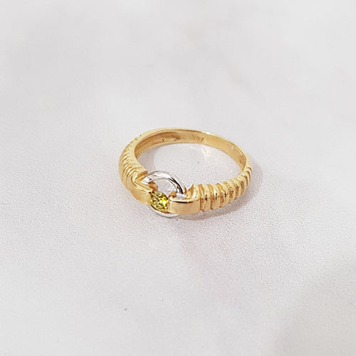 Two Tone Yellow Canary diamond Ring