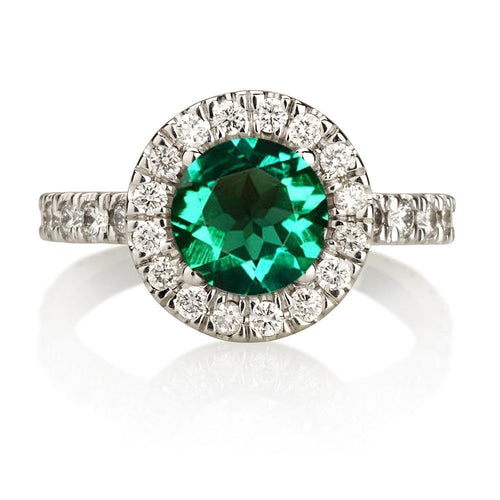 Halo Green Emerald Engagement Ring